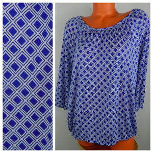 MICHAEL KORS 1X 16 18 Top Tunic Shirt DIAMOND Blue